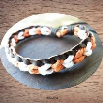 Bracelet cuir et coton orange et blanc
