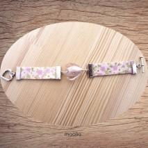 Bracelet coeur rose et tissu fleuri