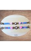 Bracelet bleu cabochon et coeur rose