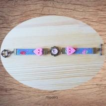 Maolia - Bracelet bleu cabochon et coeur rose