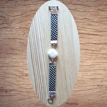 Maolia - Bracelet agate et tissu noir et blanc