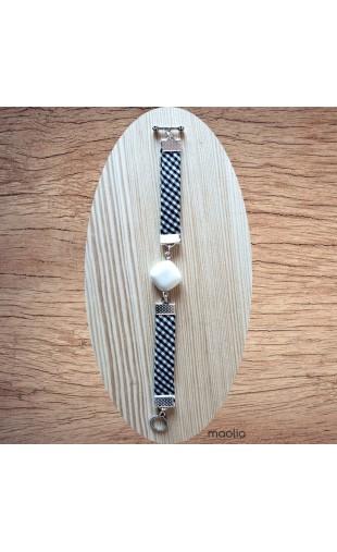 Bracelet agate et tissu noir et blanc