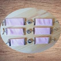 Maolia - Bracelet rose à carreaux perle argent