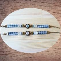 Maolia - Bracelet noir et blanc cabochon bronze