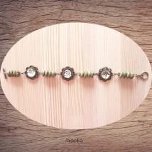Maolia - Bracelet cabochon fleurs vert bois