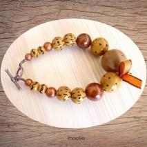 Maolia - Bracelet perles de bois ton brun