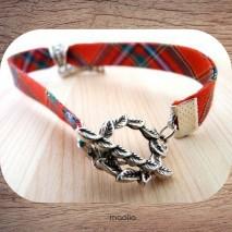 Maolia - Bracelet tissu écossais libellule et Tour Eiffel