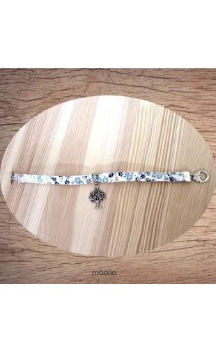 Bracelet tissu fleuri ton bleu arbre argent