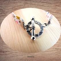 Maolia - Bracelet tissu fleuri ton rose fillette ange
