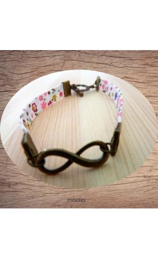 Bracelet tissu fleuri ton rose infinity