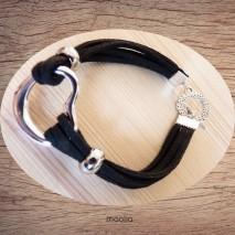 Bracelet noir et coeur argent