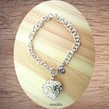 Bracelet grosse maille coeur filigrané