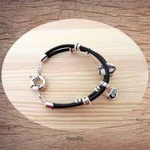 Maolia - Bracelet deux cordons cuir et argent