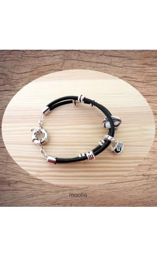 Bracelet deux cordons cuir et argent