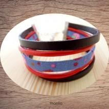 Maolia - Bracelet cuir marron et rouge tissu liberty bleu