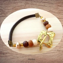 Maolia - Bracelet cuir brun gros fermoir