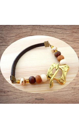 Bracelet cuir brun gros fermoir