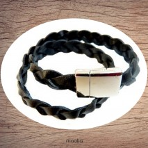 Bracelet cuir grosse tresse noire deux tours