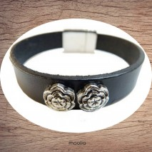 Bracelet cuir noir et fleurs argent