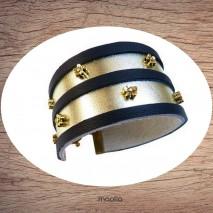 Bracelet cuir large or et noir