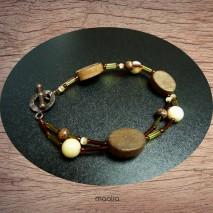 Maolia - Bracelet vert et marron deux fils
