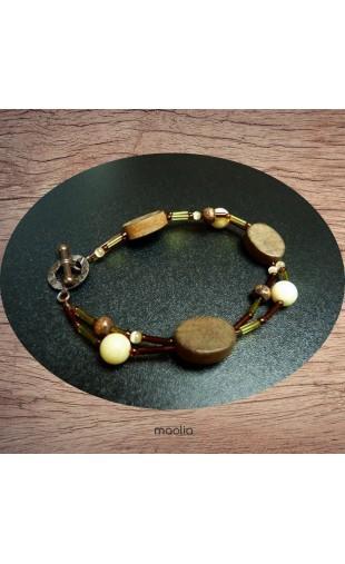 Bracelet vert et marron deux fils