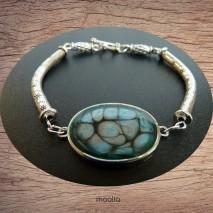 Bracelet cabochon teinte onyx turquoise