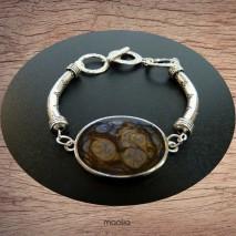 Bracelet cabochon teinte bleu métal et or