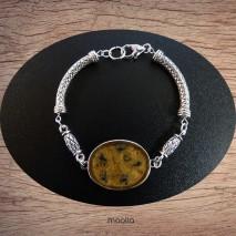 Bracelet cabochon teinte onyx et or