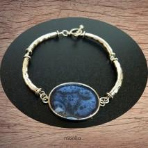 Bracelet cabochon teinte bleu métal
