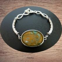 Bracelet cabochon teinte turquoise et or