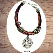 Maolia - Bracelet cordons couleur médaillon chouettes