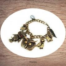 Bracelet chouettes et éléphant bronze
