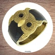 Maolia - Bracelet manchette émaillé et bronze