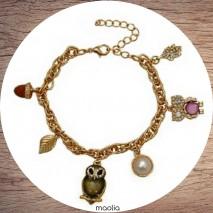 Maolia - Bracelet doré chouettes six breloques