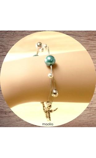 Bracelet perles bleues et argent 3 fils