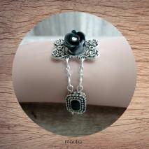 Bracelet émaillé noir chaînes argent