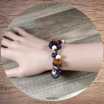 Bracelet perles de bois mauve et ocre