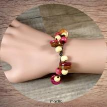 Bracelet perles de bois rose et ocre