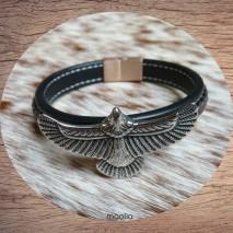 Bracelet homme cuir marron noir aigle