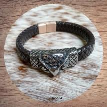 Maolia - Bracelet homme cuir marron foncé tête d'aigle