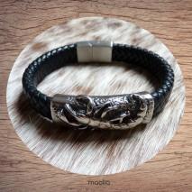 Maolia - Bracelet homme cuir tressé noir scorpion