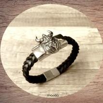 Maolia - Bracelet homme cuir tresse noire tête de viking