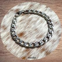 Maolia - Bracelet homme mailles en acier inoxydable grand fermoir