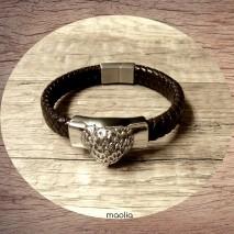 Maolia - Bracelet homme cuir tressé marron tête d'aigle fermoir argent