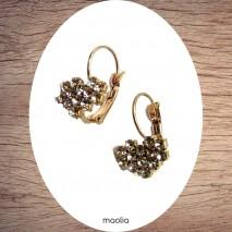 Boucles d'oreilles coeur doré cristal