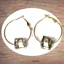 Boucles d'oreilles créoles dorées perle carrée argent et bronze