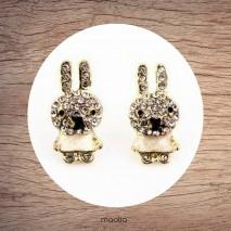 Boucles d'oreilles petits lapins cristal