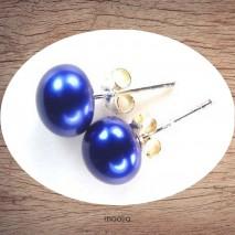 Boucles d'oreilles perle de culture couleur bleue