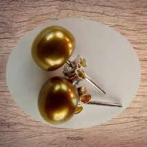 Boucles d'oreilles perle de culture couleur chaude